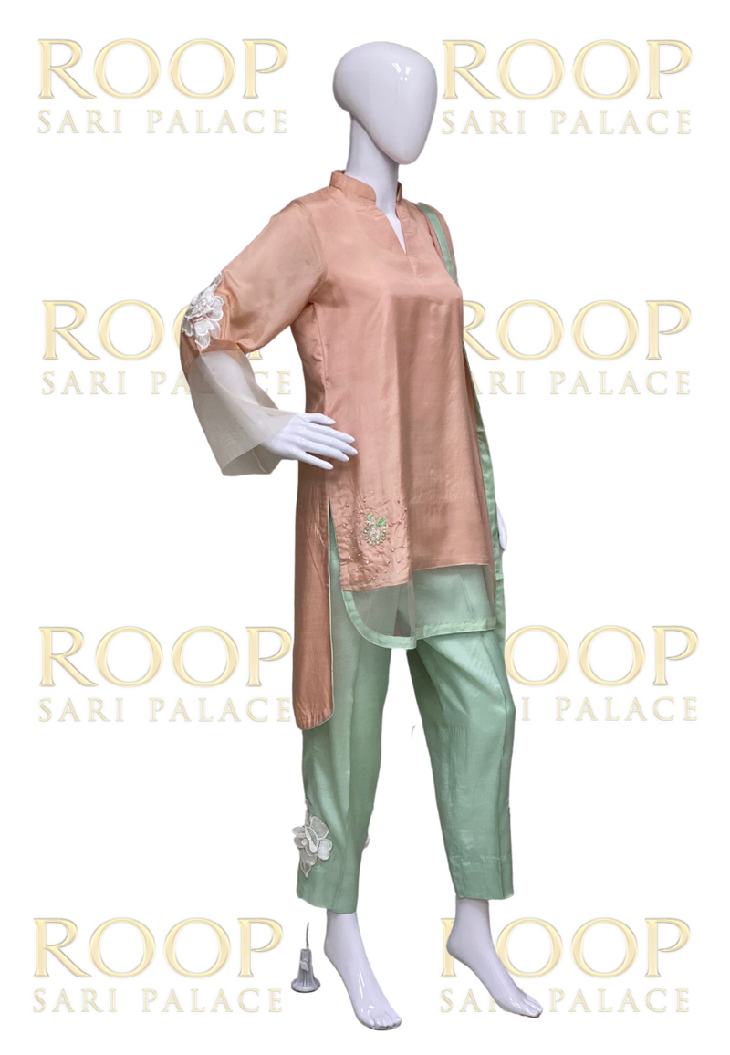 Peach and Light Green Suit - Size 38
