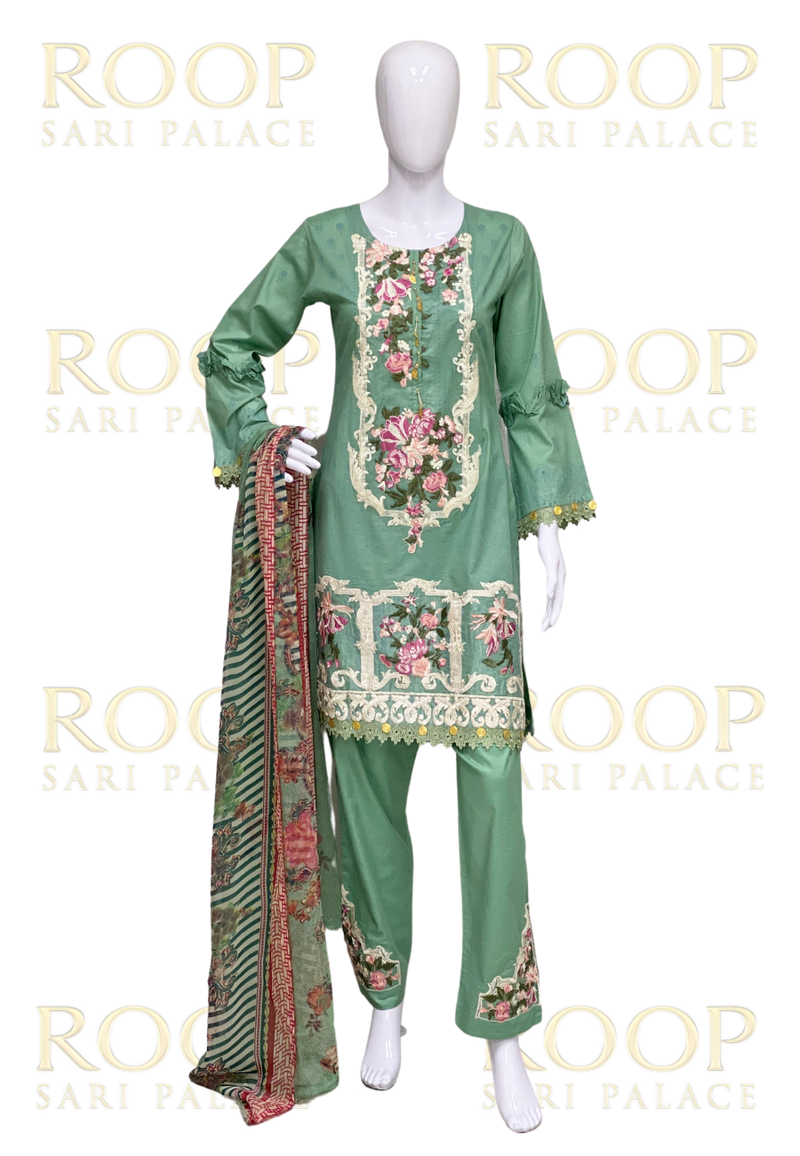 Light Green Lawn Suit