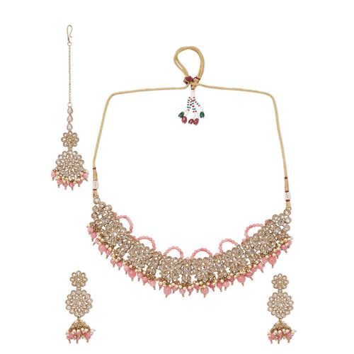 Champagne Polki Set with Pink Beads