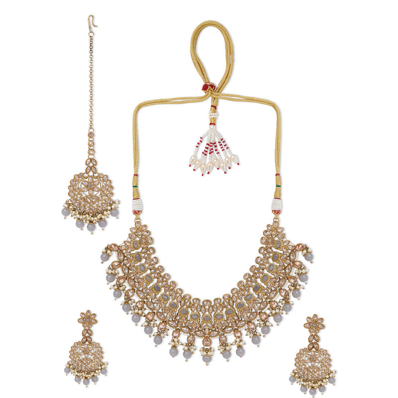 Champagne Polki Set with Grey Stones