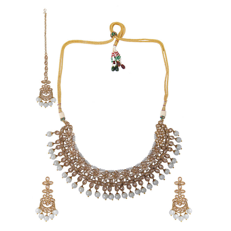 Champagne Polki Set with Light Grey Stones