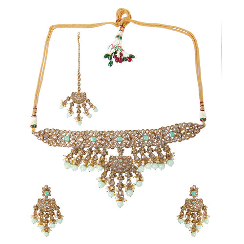 Champagne & Mint Polki Necklace Set