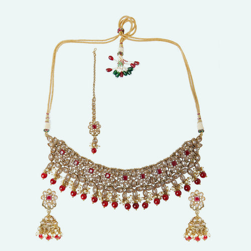 Champagne Polki Set with Ruby Stones
