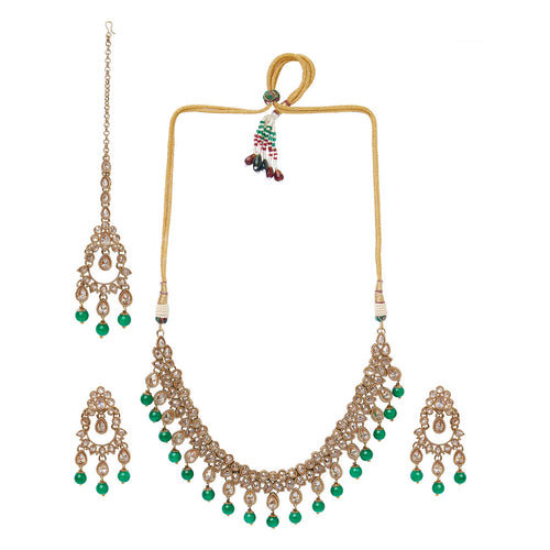Champagne and Green Polki Necklace Set