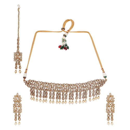 Champagne & Pearl Polki Necklace Set
