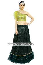 Dark Green and Lime Green Lehenga Choli - Size 38