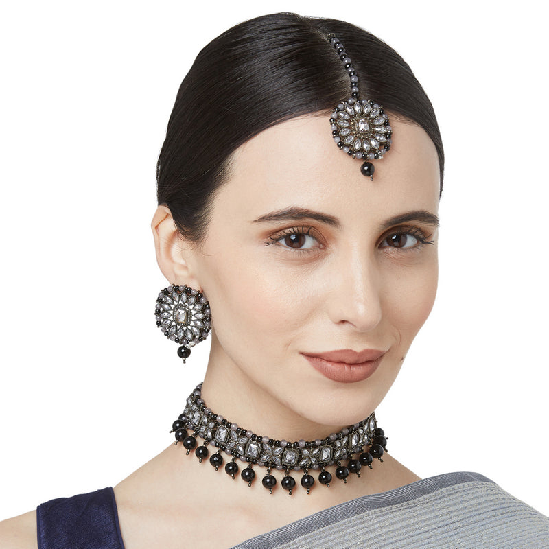 Oxidized Grey & Black Polki Choker Set