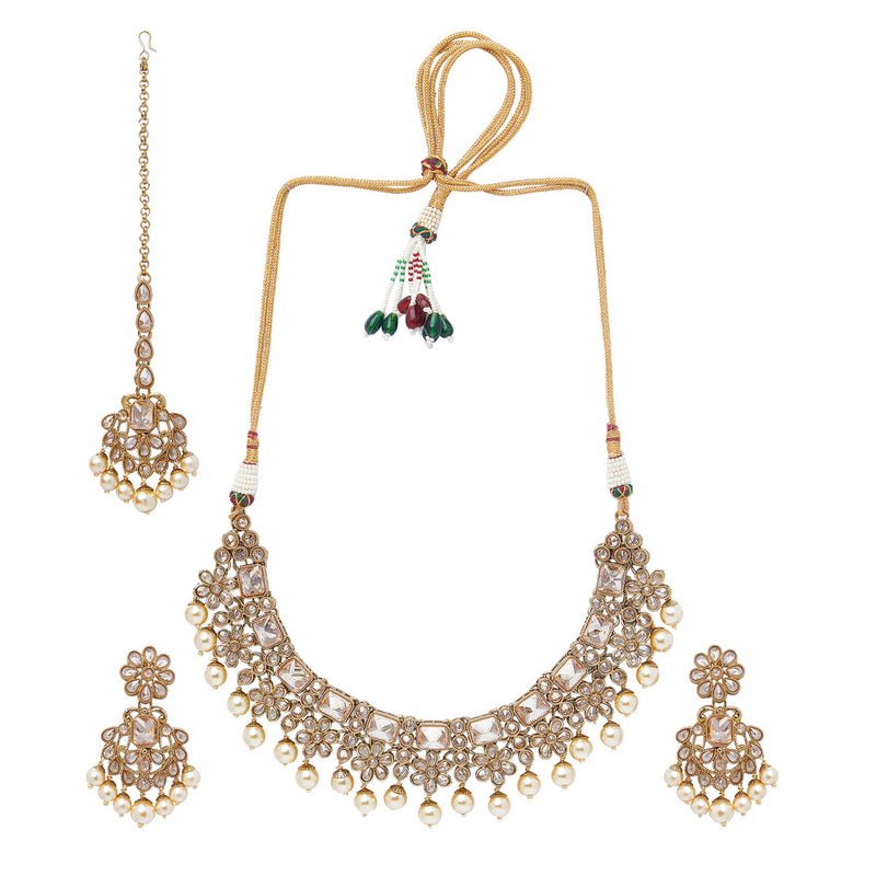 Champagne Polki Set with Flower Design