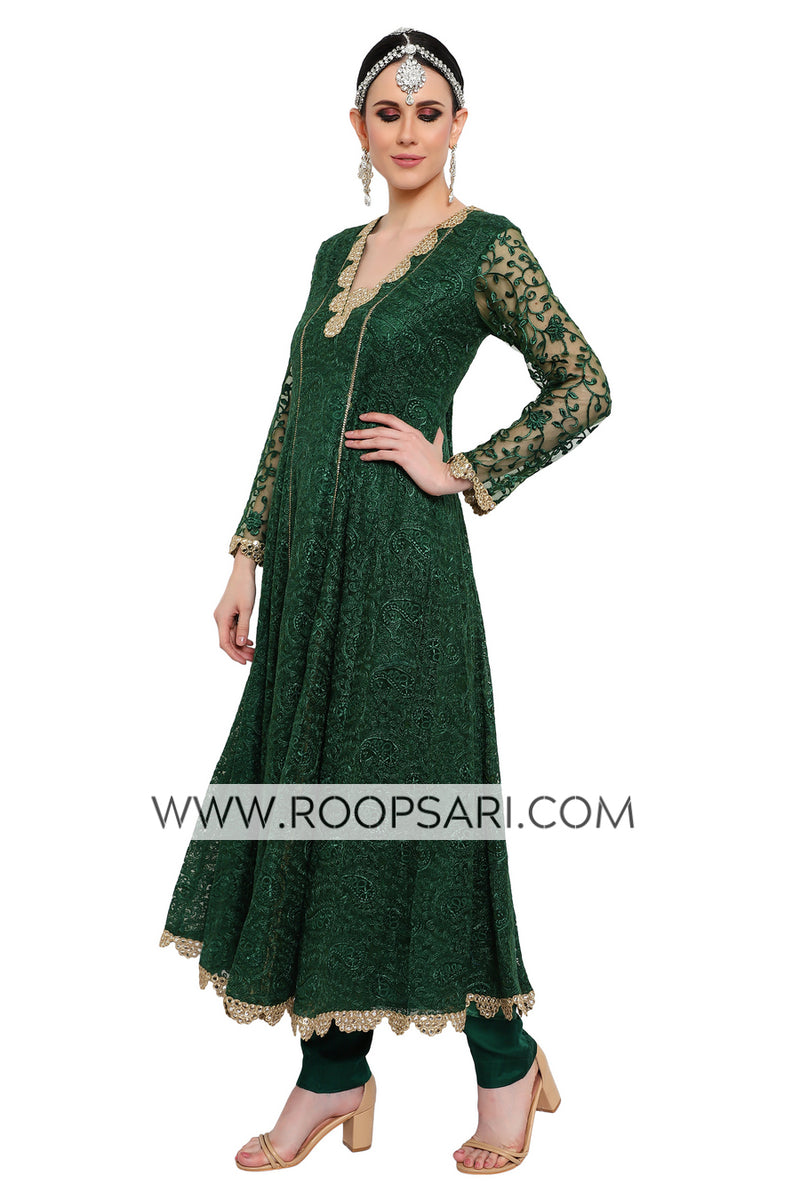 Green Anarkali Suit - Size 40