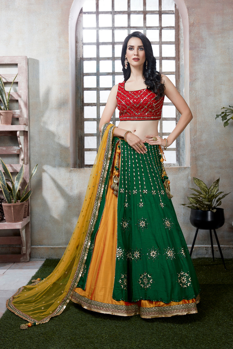 Green Lehenga Choli with Red Blouse