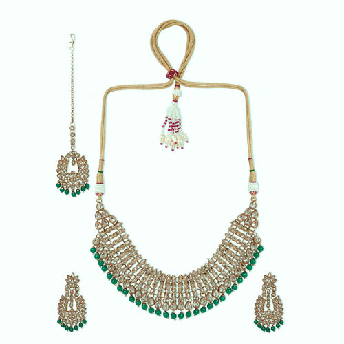 Champagne Polki Set with Green Beads