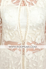 Ivory Crop Top with Jacket Style Suit - Size 38