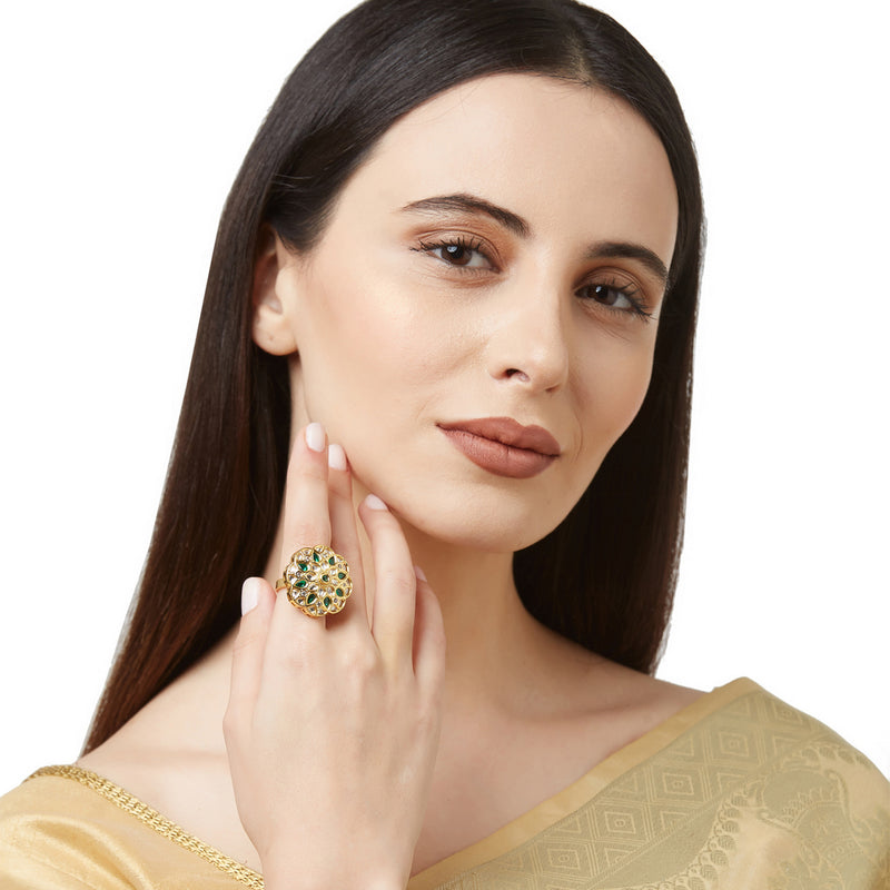 Kundan Ring with Green Stones