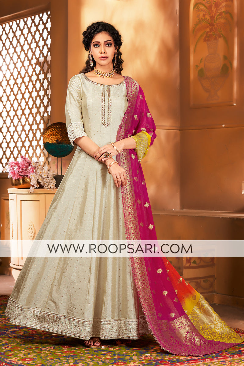 Light Gold Anarkali Suit