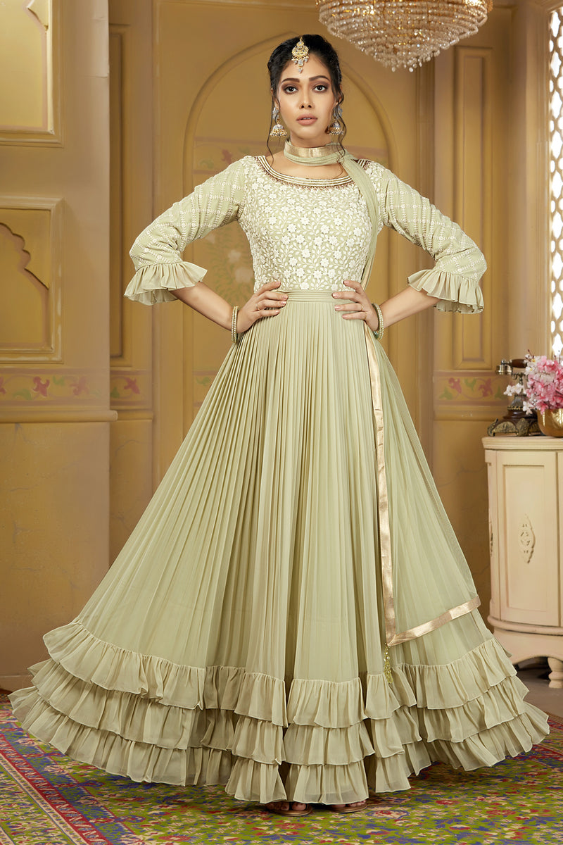 Light Green Gown Style Suit