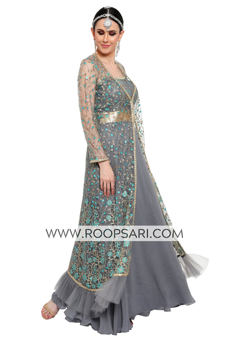 Light Grey Gown with Jacket - Size 38