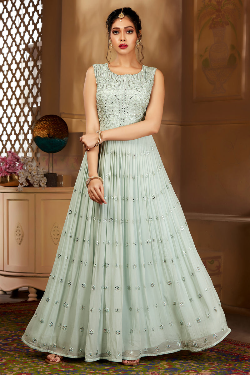 Mint Green Gown Style Suit