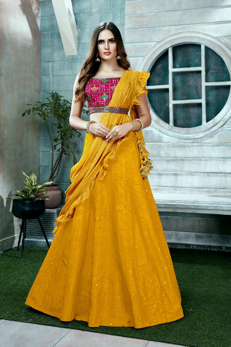 Mustard Yellow and Purple Lehenga Choli