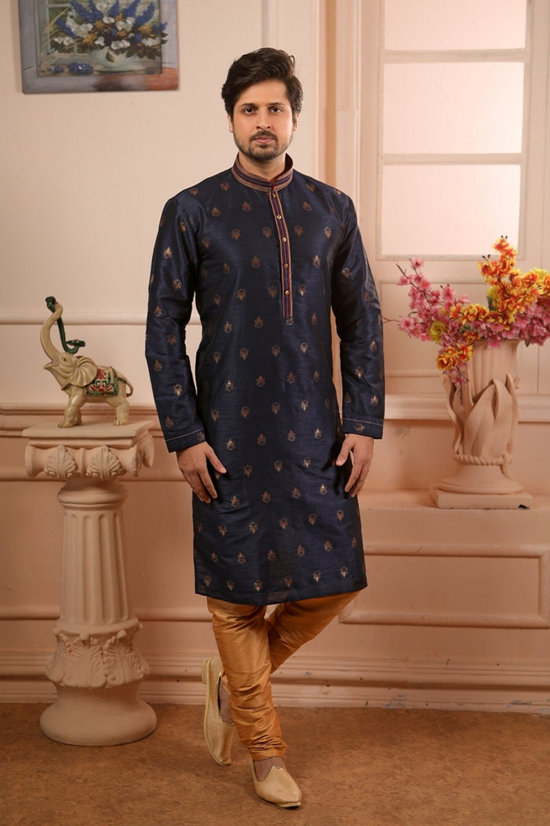 Men's Navy Blue Kurta Pajama