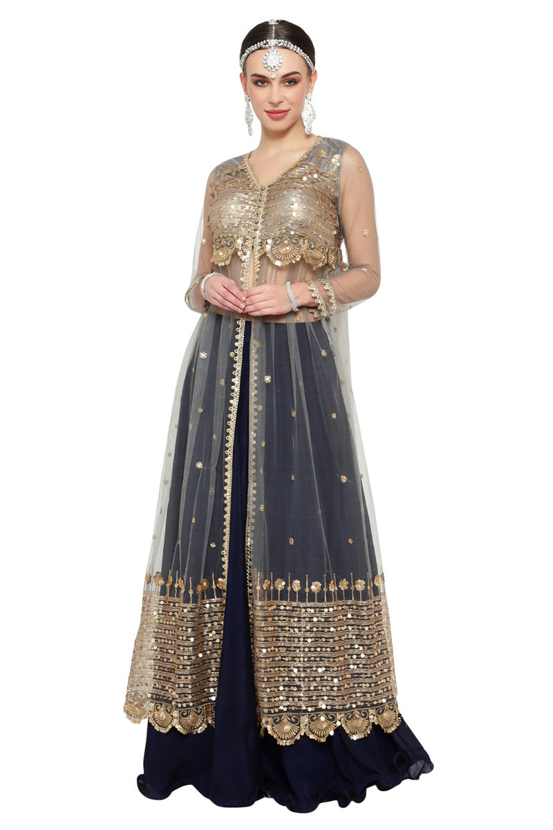 Navy Blue & Gold Jacket Style Lehenga Choli