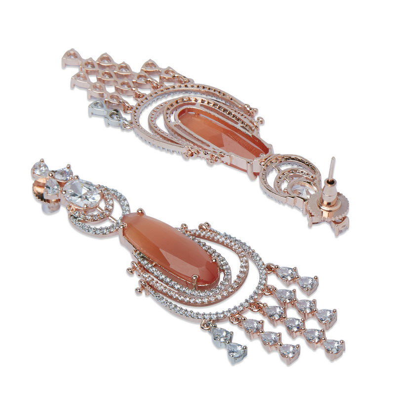 Rose Gold & Peach American Diamond Earrings