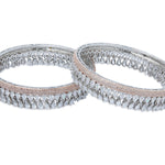 Rose gold and Silver American Diamond Bangle Set