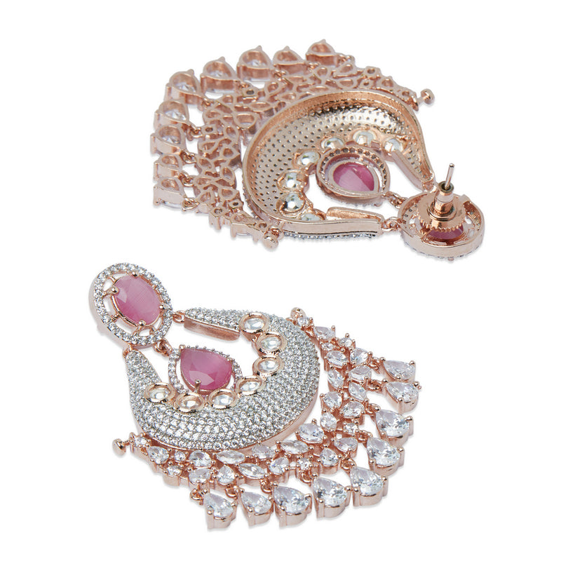 Rose Gold and Light Pink American Diamond Earrings