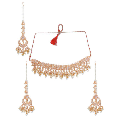 Shiny Gold & Pearl Polki Necklace Set