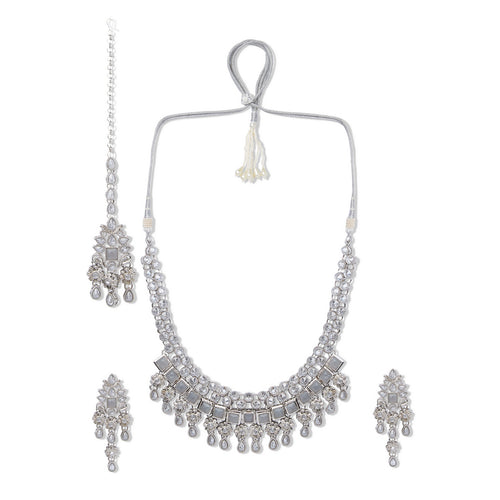 Silver Polki Set with Grey Stones