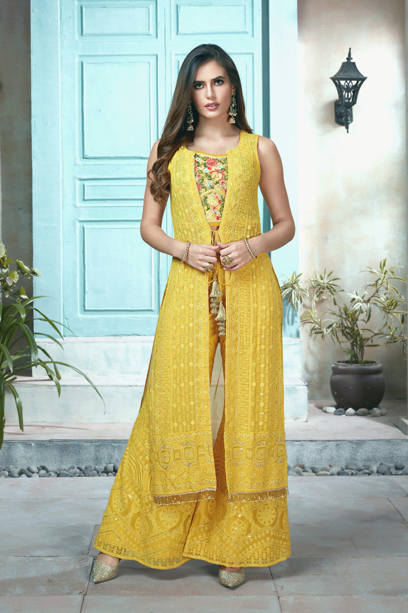 Bright Yellow Bell-Bottom Suit