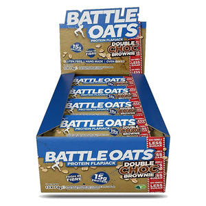 Battle Oats Protein Flapjack Double Choc Brownie-Box of 12