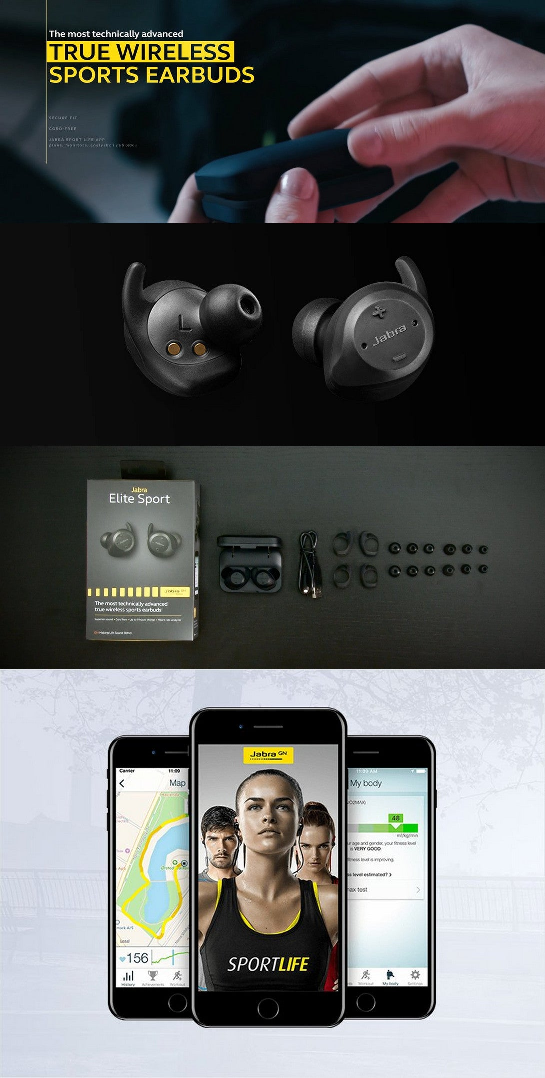 Jabra Elite Sport True Wireless Sports Earbuds