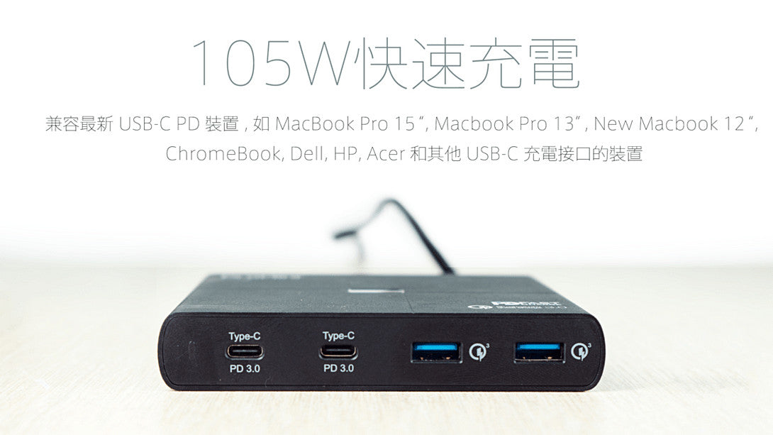 Magic-Pro ProMini Qs105 - 雙 USB-C PD + 雙 QC 四口快速充電器