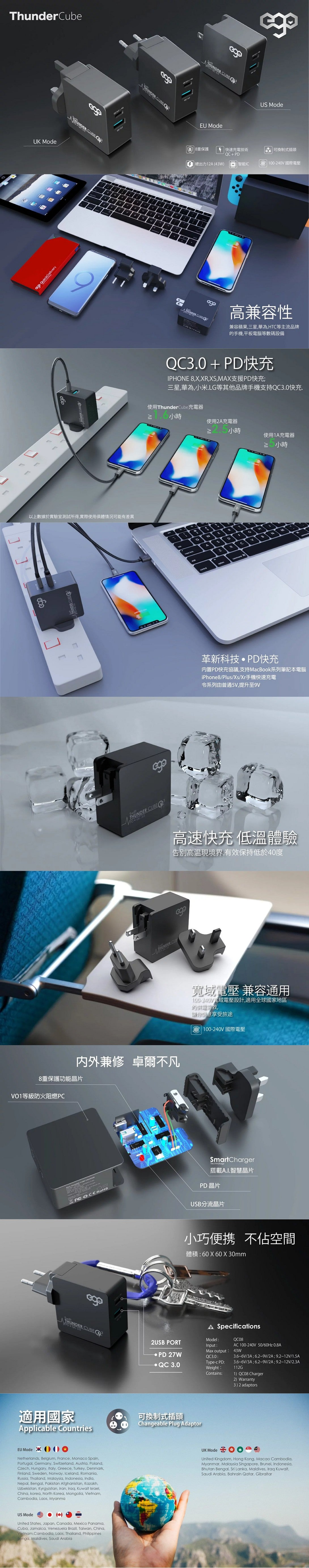 EGO Thunder Cube USB-C PD+QC 兩口旅行充電器 (43W)
