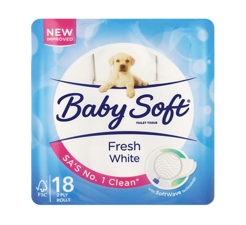 BABY SOFT TOILET ROLLS 2 PLY 18'S WHITE