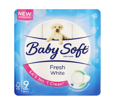 BABY SOFT TOILET ROLLS 2 PLY 9'S WHITE