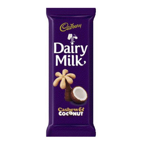CADBURY CHOCOLATE SLABS 80G CASHEW AND COCONUT