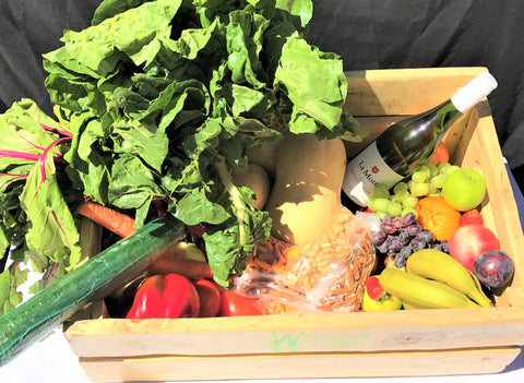 Large Fruit and Vegetable Combo Crate/Box with White Wine Monthly Subscription