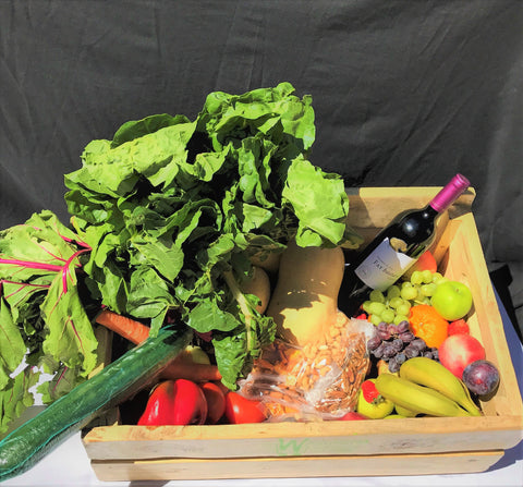 Large Fruit and Vegetable Combo Crate/Box with Red Wine Monthly Subscription