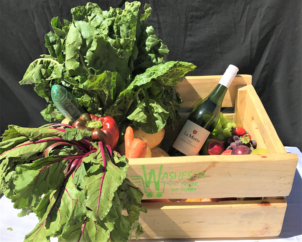 Medium Fruit and Vegetable Combo Crate/Box with White Wine Monthly Subscription