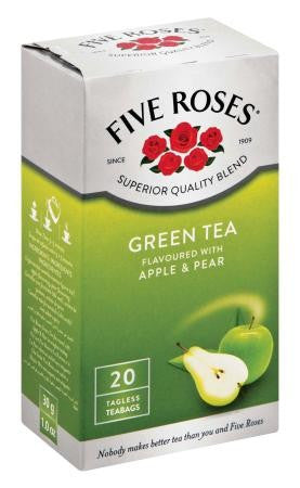FIVE ROSES TEABAGS 20'S GREEN TEA APPLE&PEAR