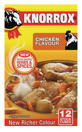 KNORROX STOCK CUBES 12'S CHICKEN 120G
