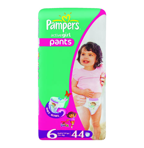 PAMPERS ACTIVE BABY DISPOSABLE PANTS X LARGE NO6 44S