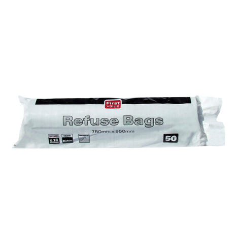 FIRST VALUE REFUSE BAGS 50'S BLACK