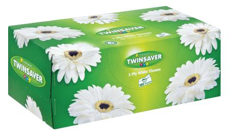 TWINSAVER FACIAL  TISSUES 180'S WHITE