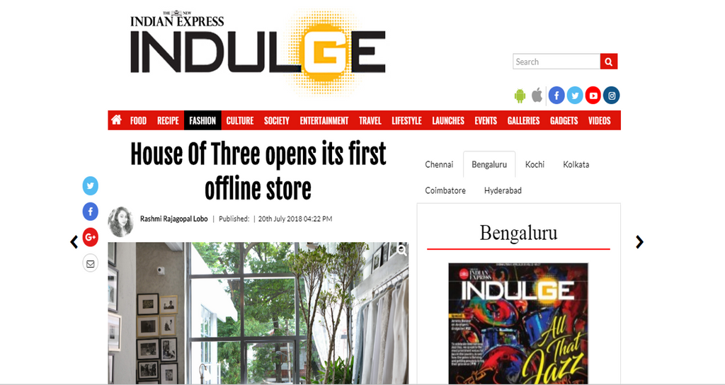 House of Three in Indulge , The New Indian Express