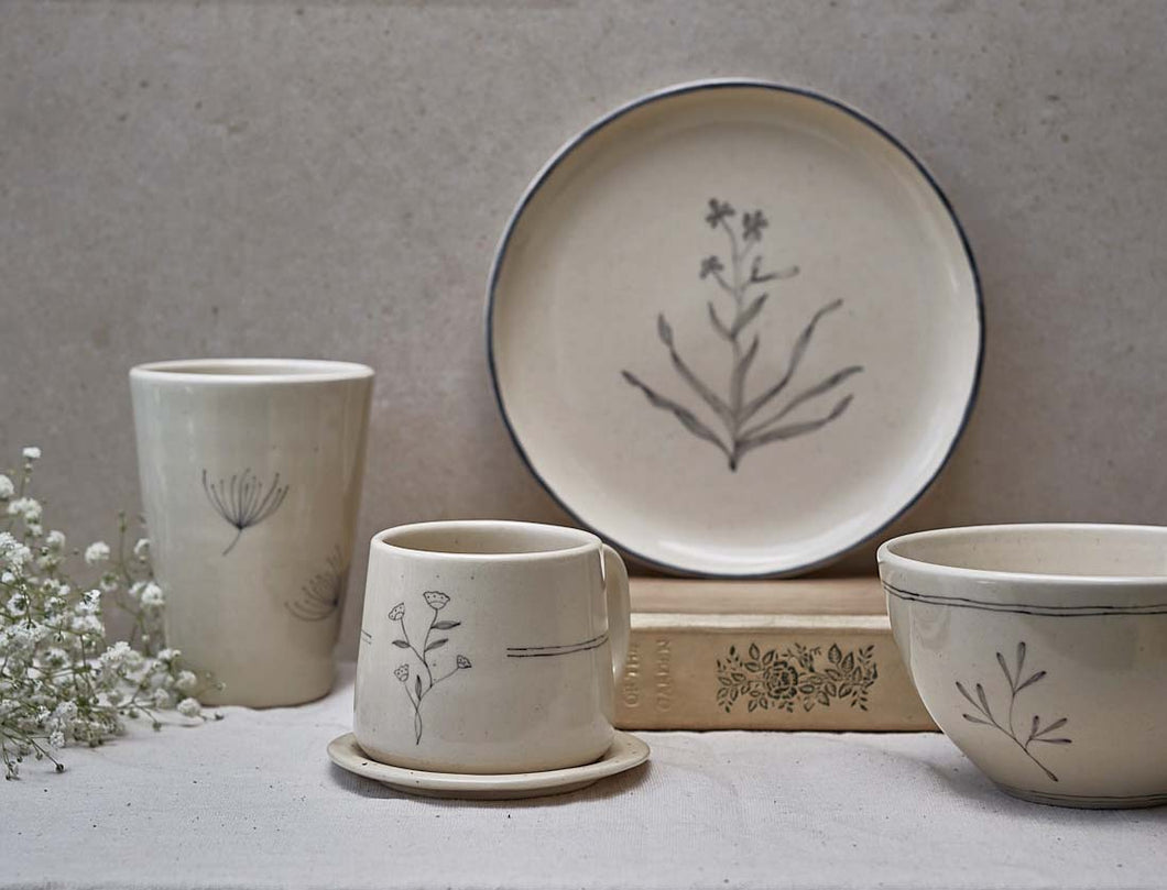 Vintage Botanical Breakfast Set ( 1 Quarter Plate, 1 Snack Bowl, 1 Teacup, 1 Saucer, 1 Tumbler)