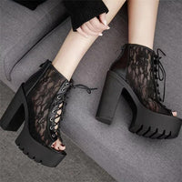 'Till Dawn' Black Lace peep toe shoes