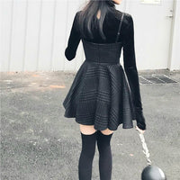 'Sorrow' Black and Grey check dress