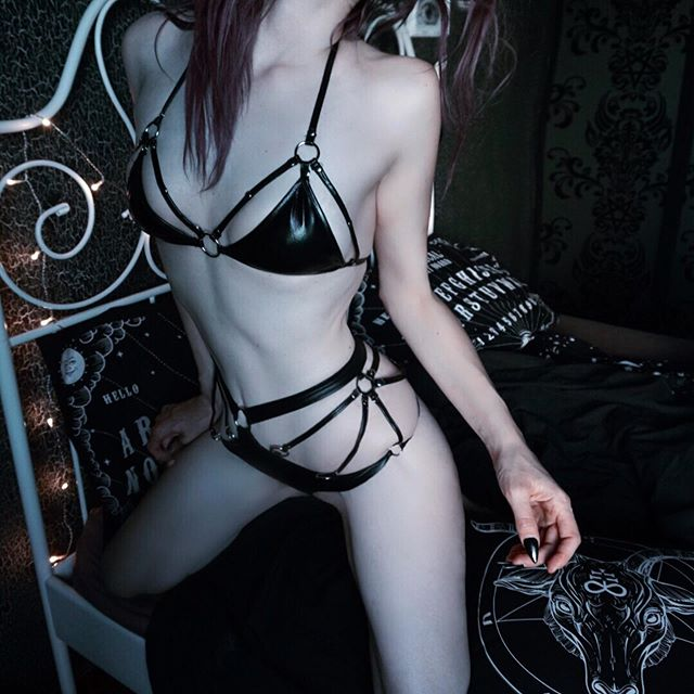 'Black Widow' PU Lingerie Set